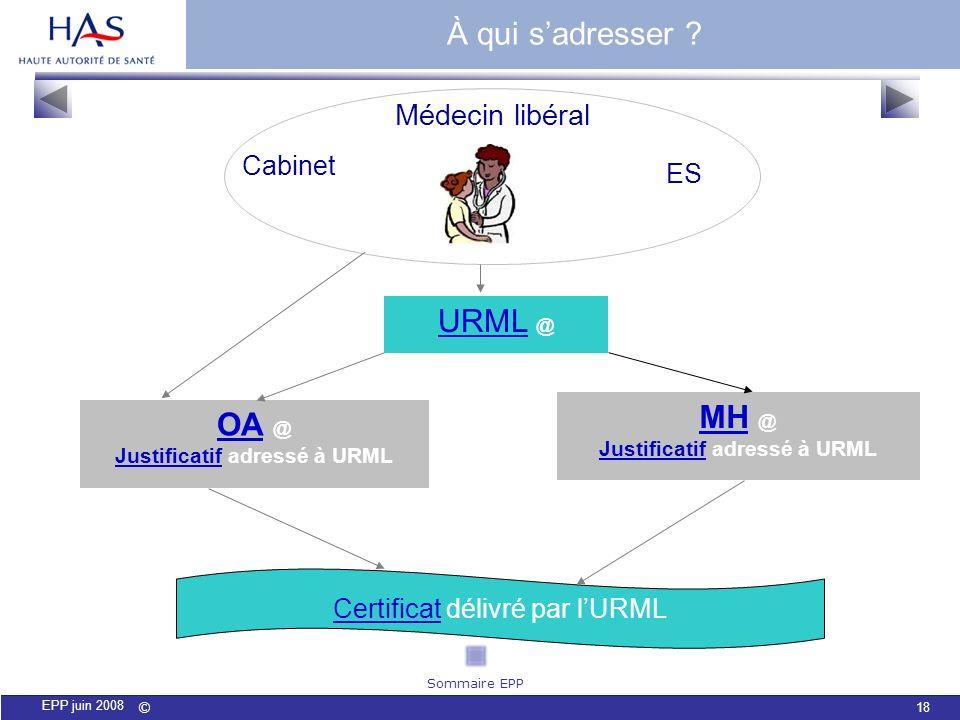 Justificatif adressé à URML Justificatif adressé à URML