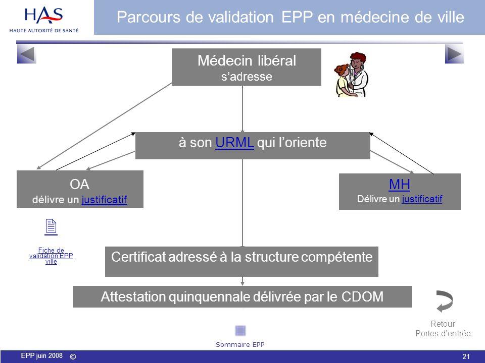  Parcours de validation EPP en médecine de ville