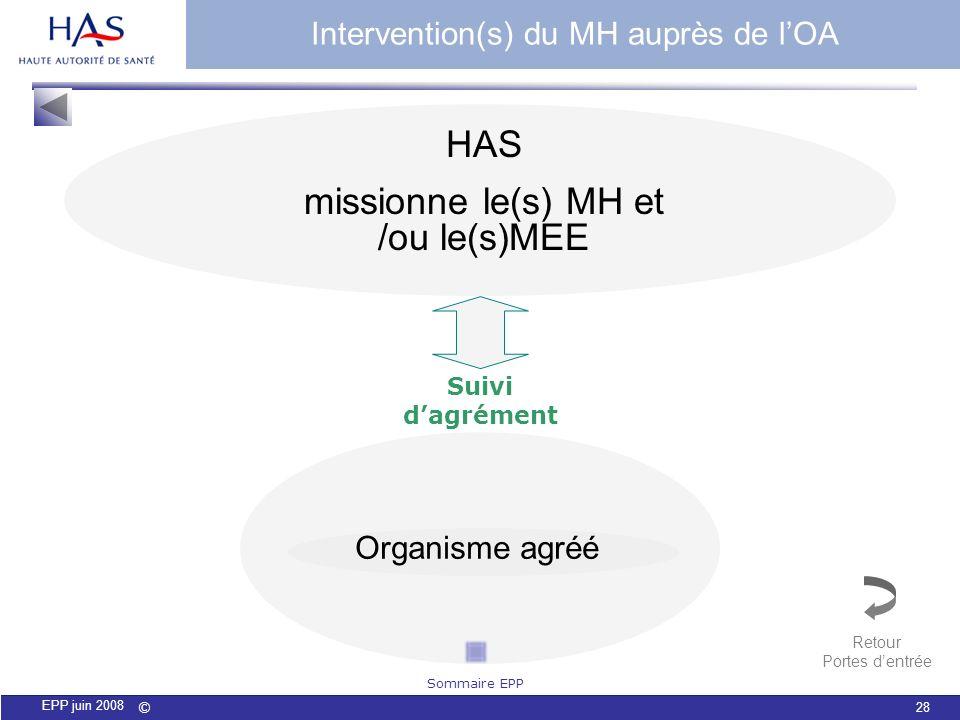 missionne le(s) MH et /ou le(s)MEE