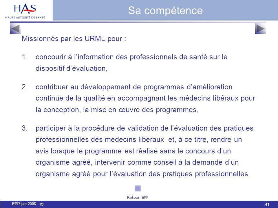 Sa compétence Missionnés par les URML pour :