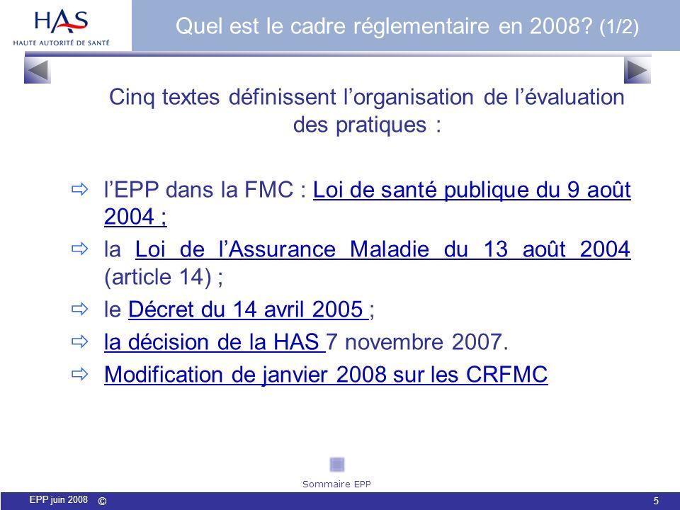 Quel est le cadre réglementaire en 2008 (1/2)