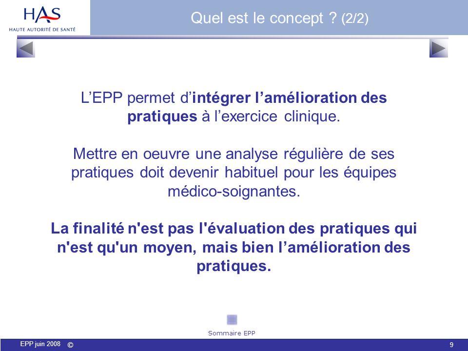 Quel est le concept (2/2) L'EPP permet d'intégrer l'amélioration des pratiques à l'exercice clinique.