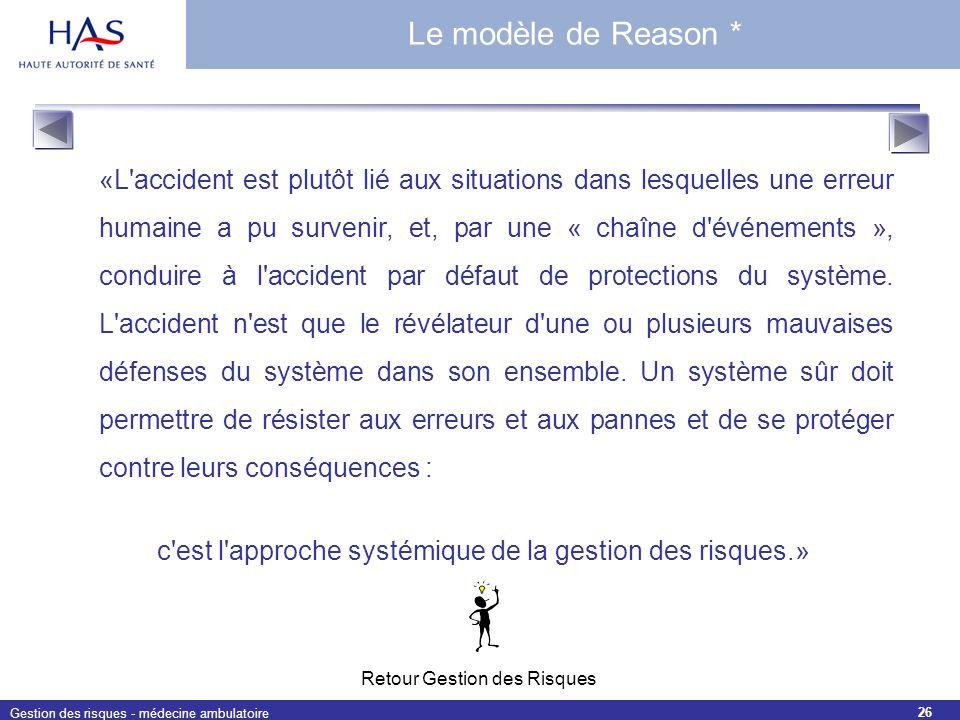 c est l approche systémique de la gestion des risques.»