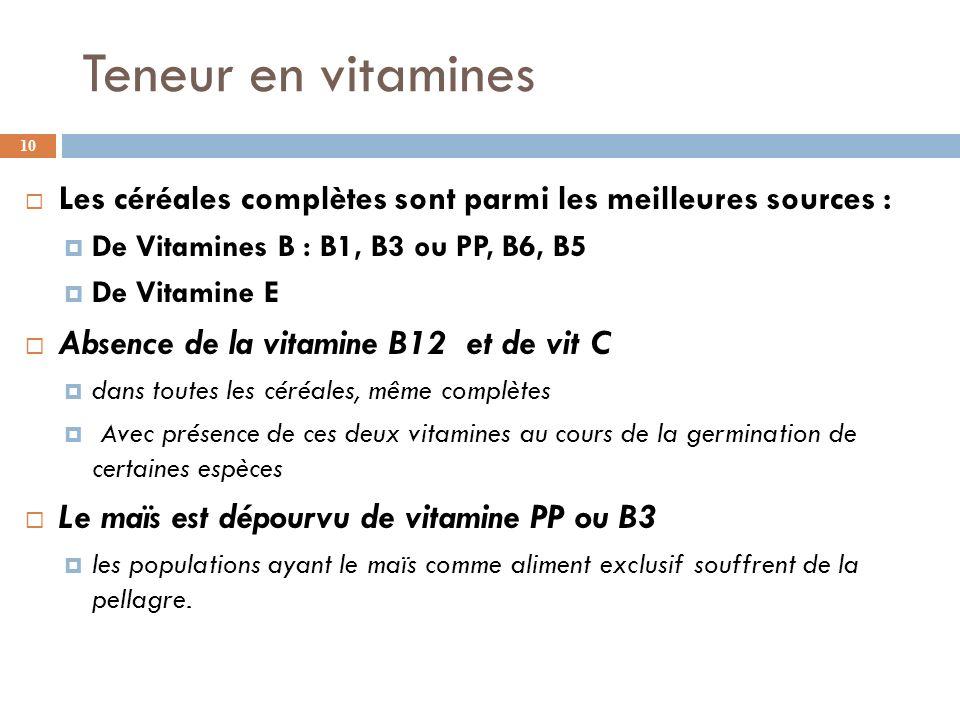Teneur en vitamines Absence de la vitamine B12 et de vit C