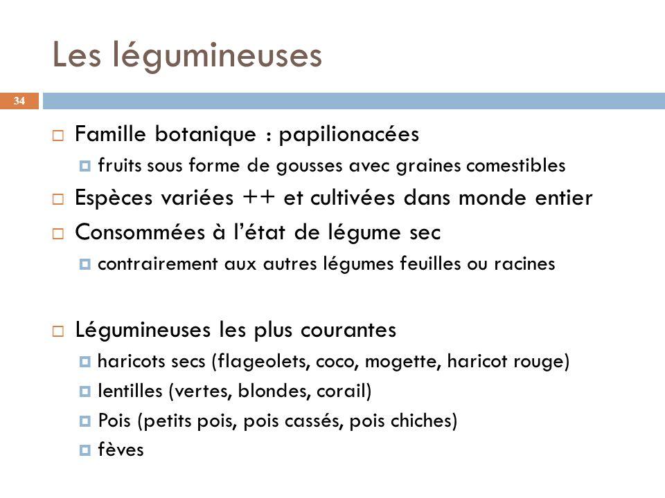 Les légumineuses Famille botanique : papilionacées