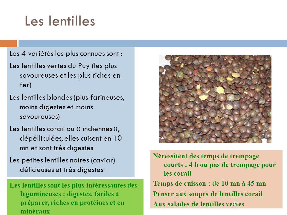 Les lentilles Les 4 variétés les plus connues sont :