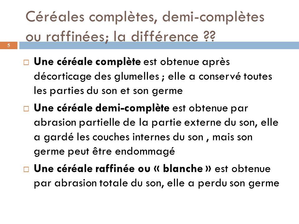Céréales complètes, demi-complètes ou raffinées; la différence