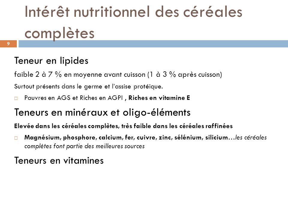 Intérêt nutritionnel des céréales complètes