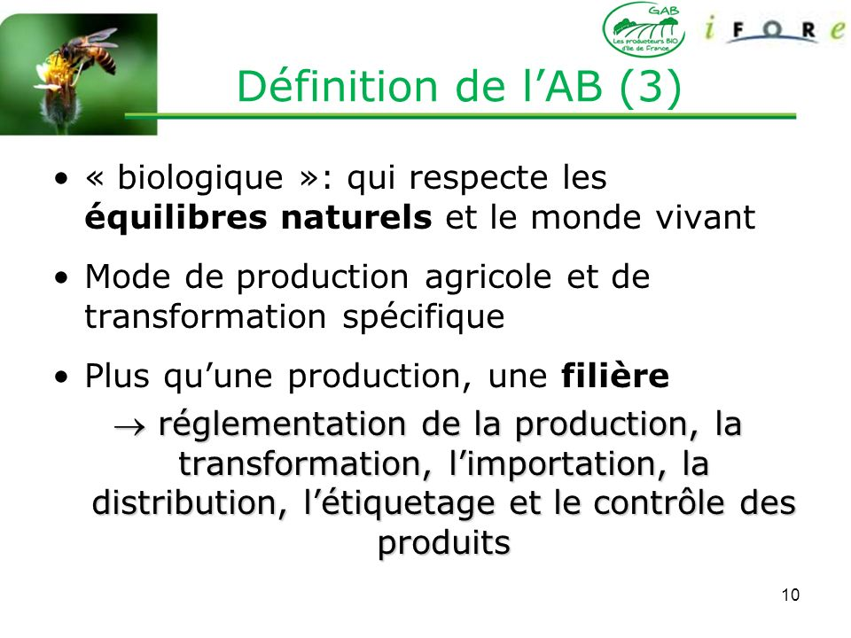 Définition de l'AB (3) « biologique »: qui respecte les équilibres naturels et le monde vivant.
