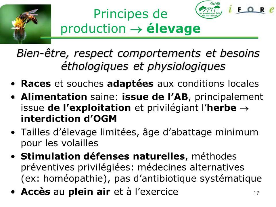 Principes de production  élevage