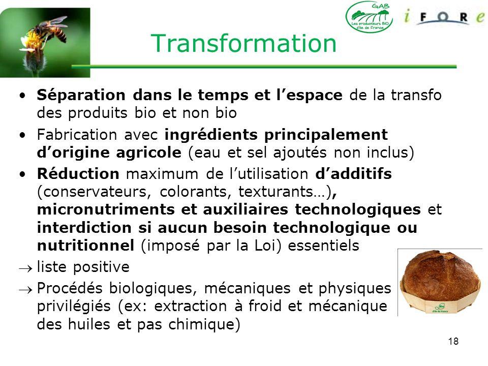 Transformation Séparation dans le temps et l'espace de la transfo des produits bio et non bio.