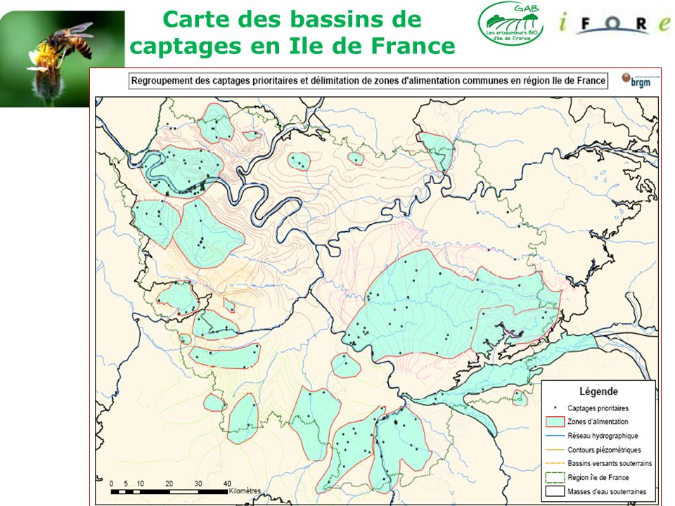 Carte des bassins de captages en Ile de France