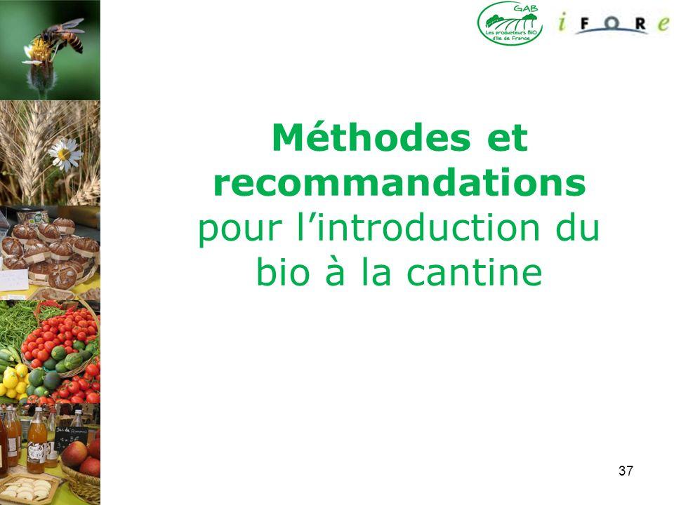 Méthodes et recommandations pour l'introduction du bio à la cantine