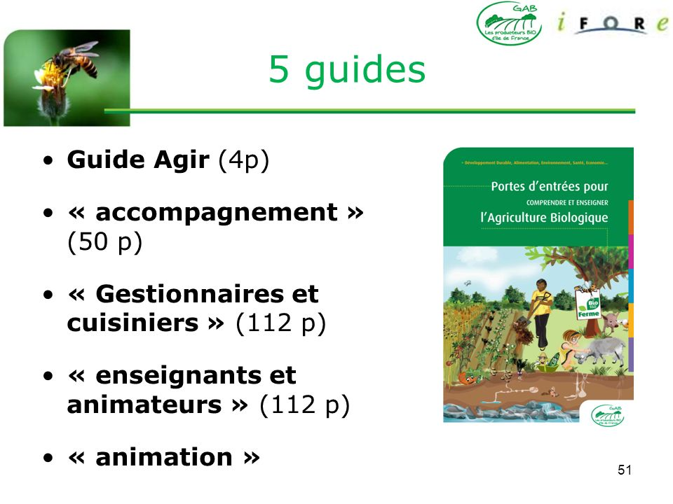 5 guides Guide Agir (4p) « accompagnement » (50 p)