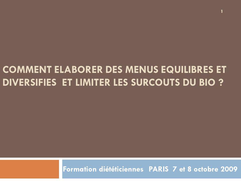 Formation diététiciennes PARIS 7 et 8 octobre 2009