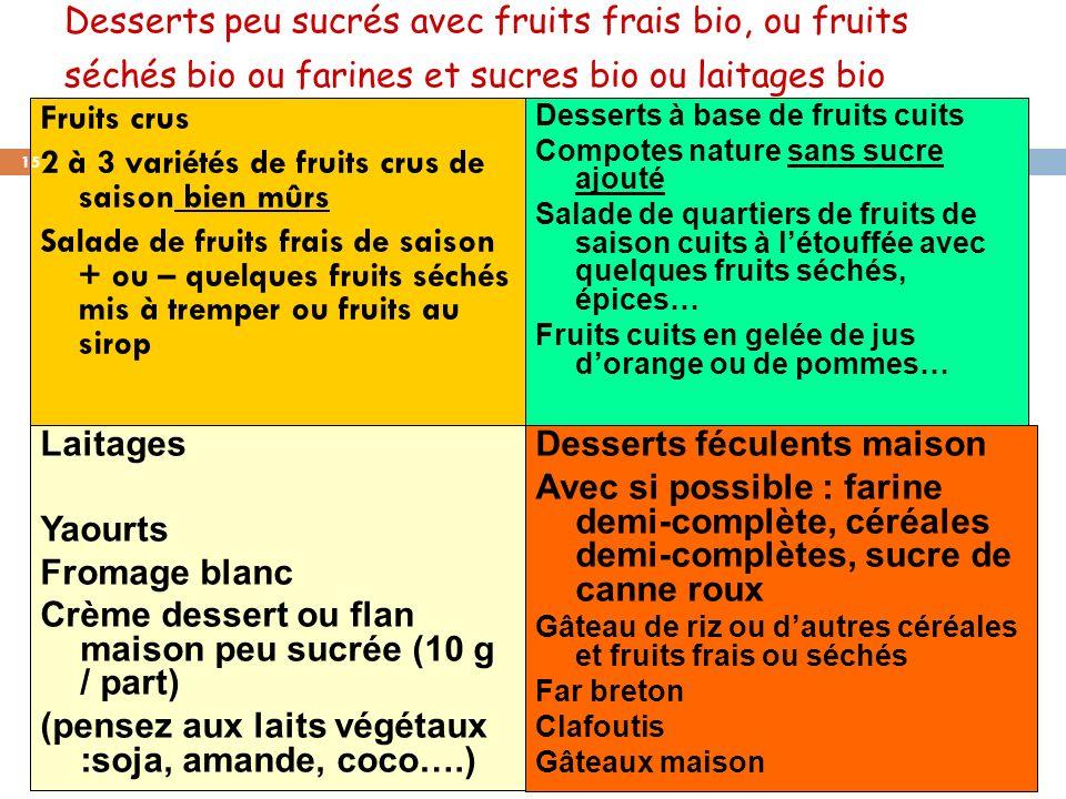 2 à 3 variétés de fruits crus de saison bien mûrs