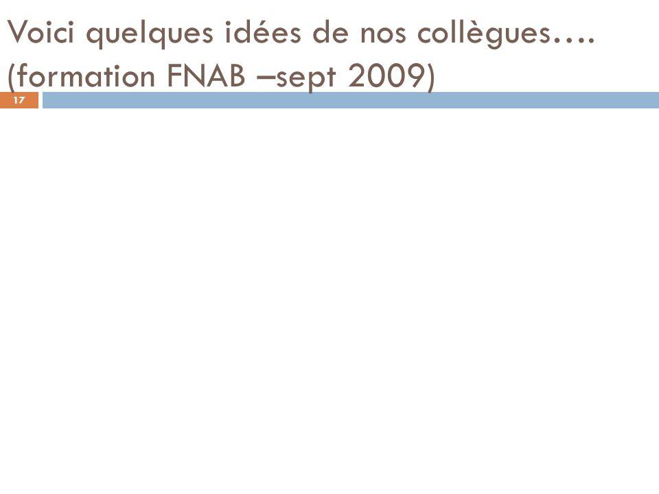 Voici quelques idées de nos collègues…. (formation FNAB –sept 2009)