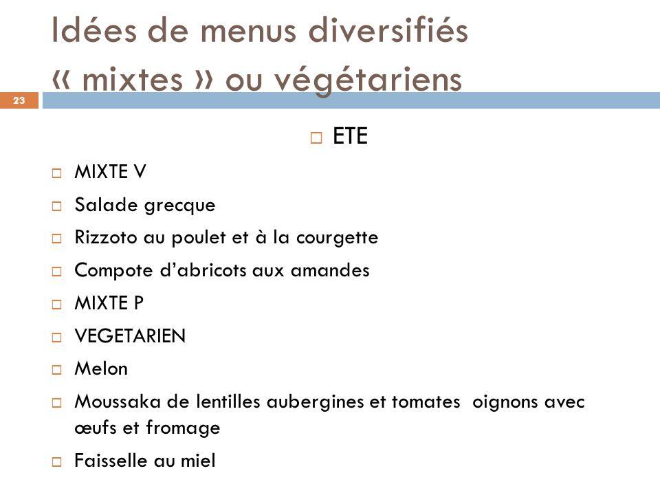 Idées de menus diversifiés « mixtes » ou végétariens