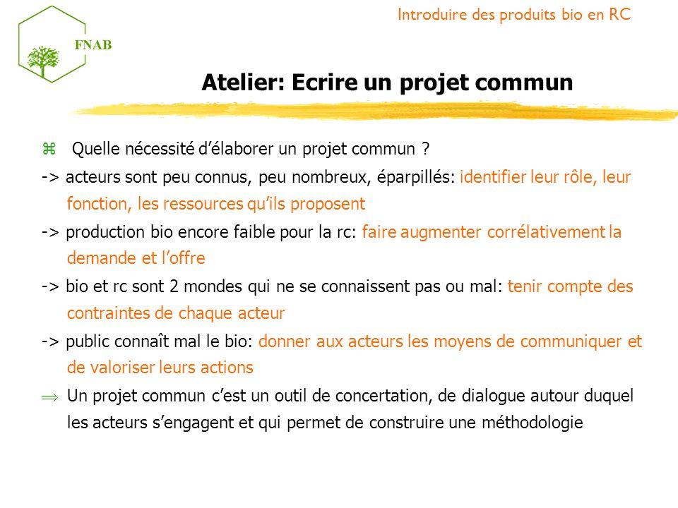 Atelier: Ecrire un projet commun