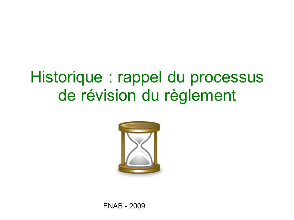 Historique : rappel du processus de révision du règlement