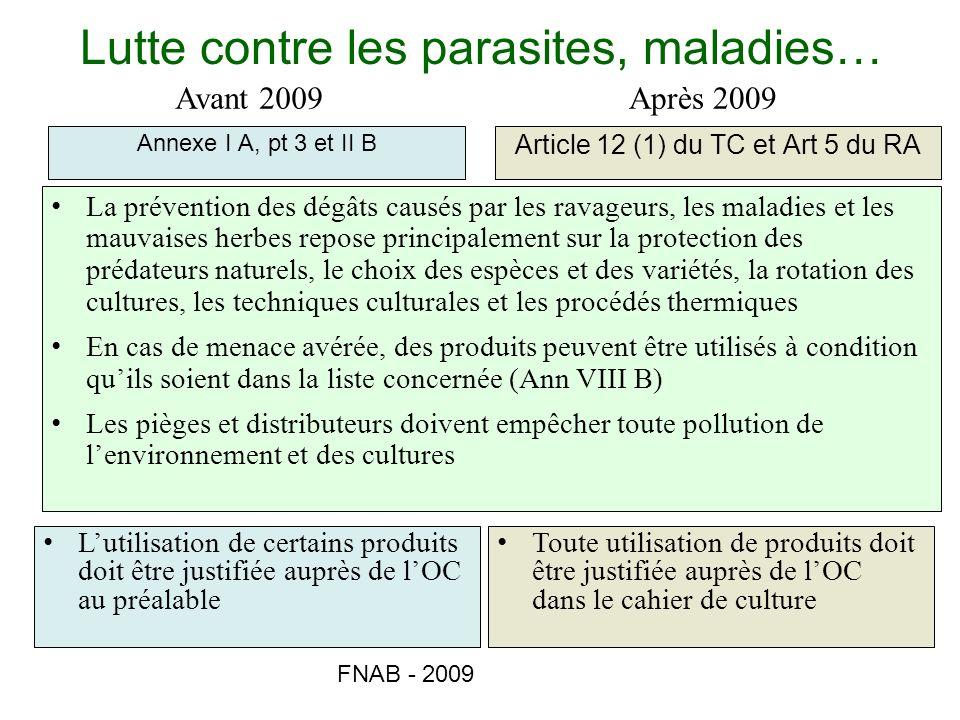 Lutte contre les parasites, maladies…