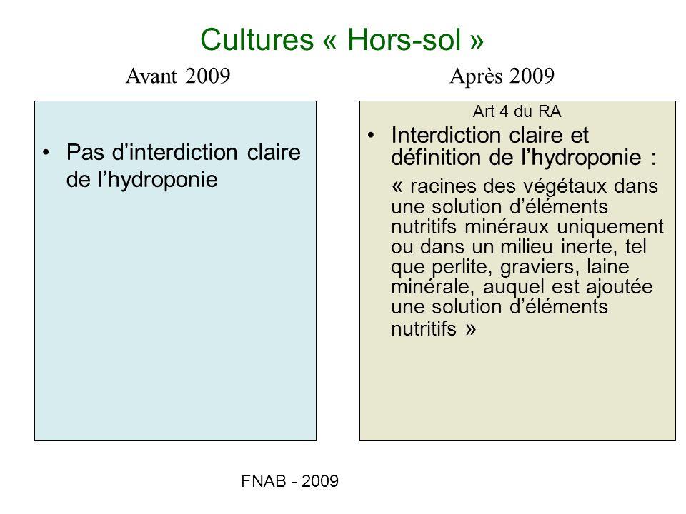 Cultures « Hors-sol » Avant 2009 Après 2009