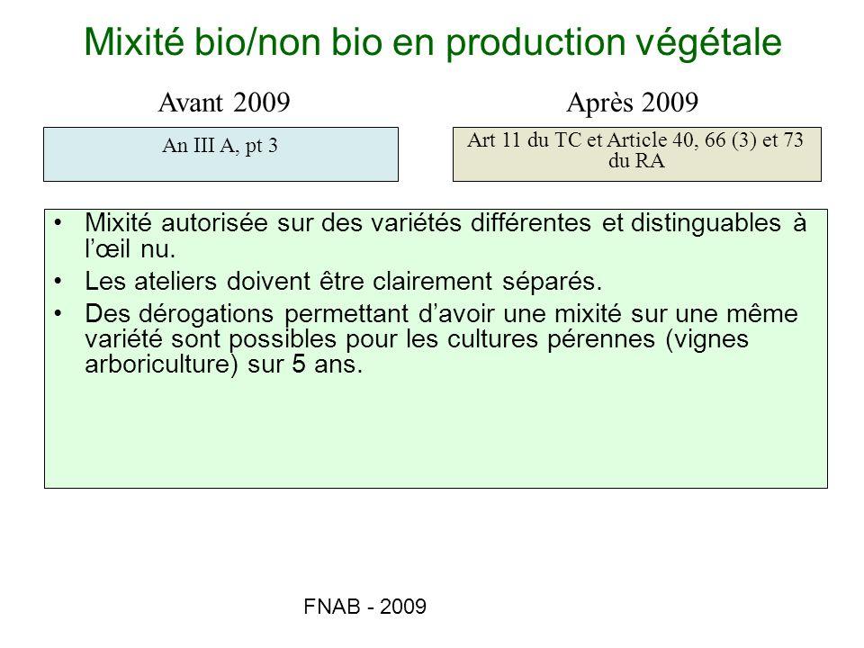 Mixité bio/non bio en production végétale