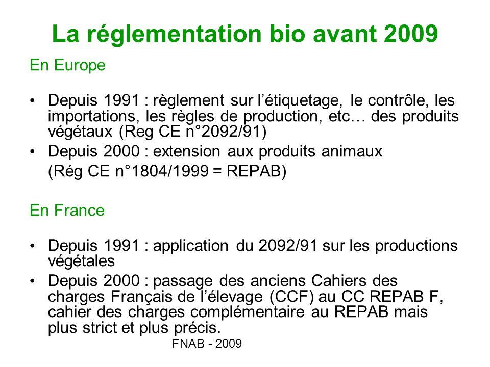 La réglementation bio avant 2009