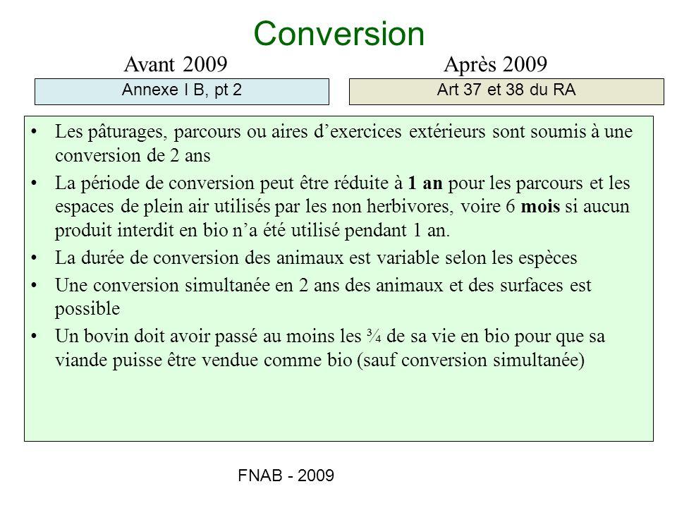 Conversion Avant 2009 Après 2009