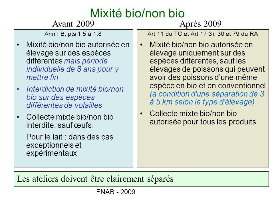 Mixité bio/non bio Avant 2009 Après 2009