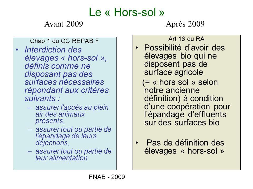Le « Hors-sol » Avant 2009 Après 2009