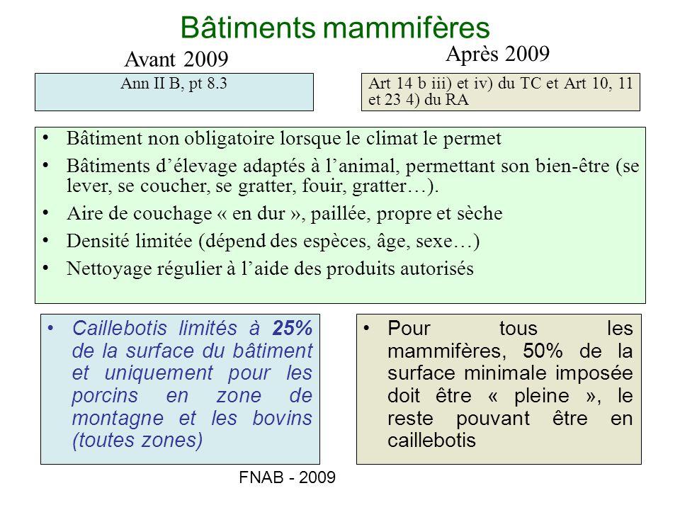 Bâtiments mammifères Après 2009 Avant 2009