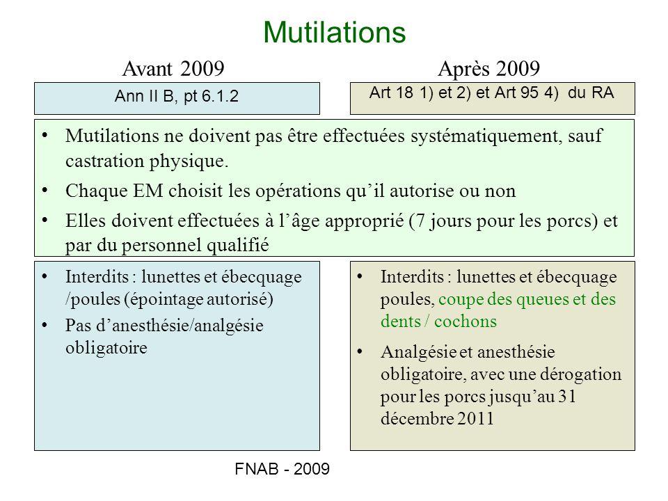 Mutilations Avant 2009 Après 2009
