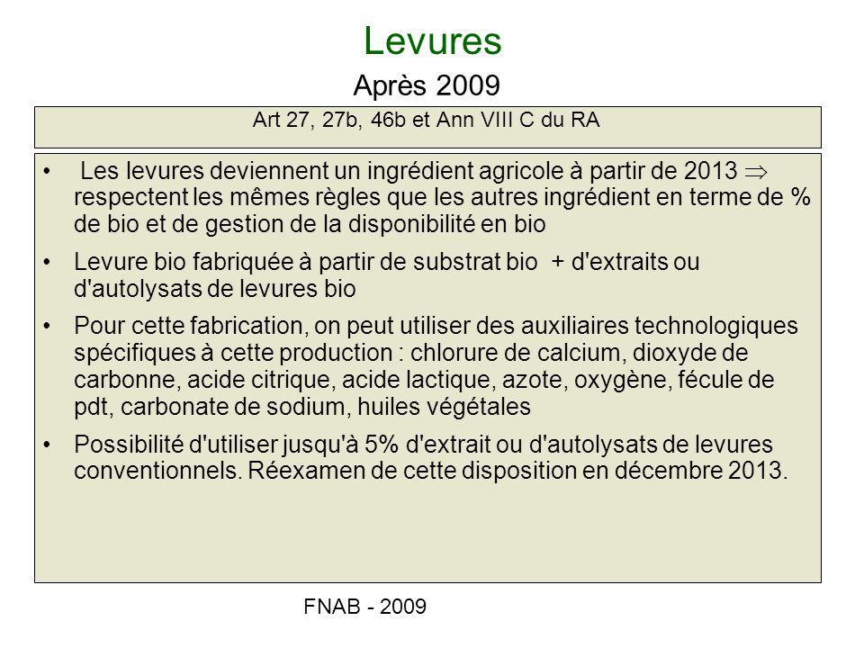 Levures Après 2009. Art 27, 27b, 46b et Ann VIII C du RA.