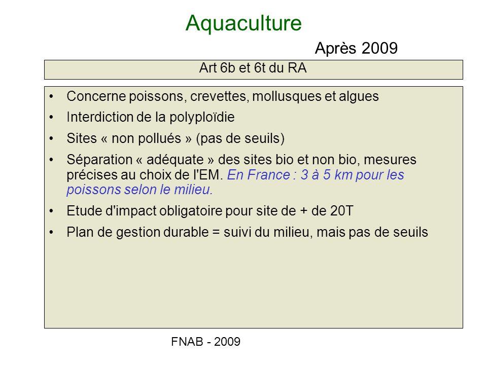 Aquaculture Après 2009 Art 6b et 6t du RA