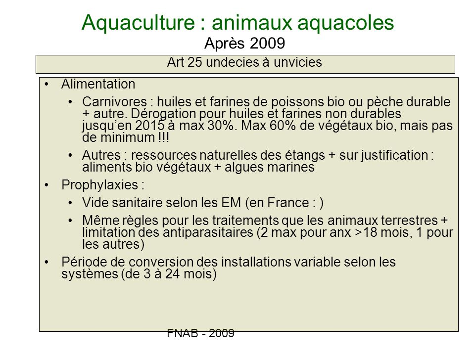 Aquaculture : animaux aquacoles