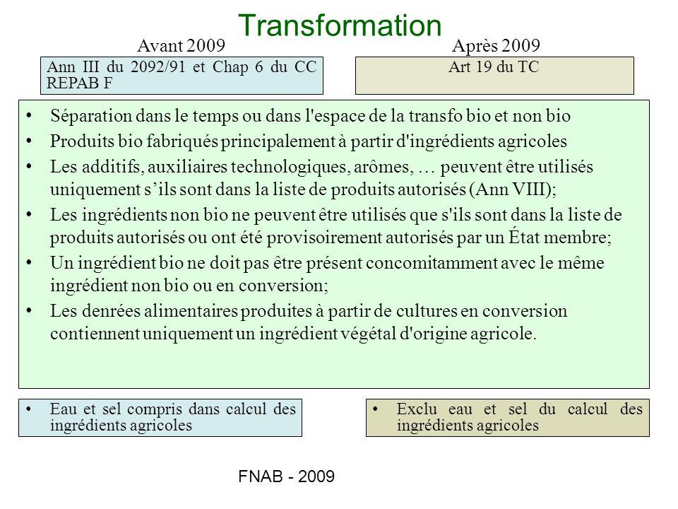 Transformation Avant 2009 Après 2009