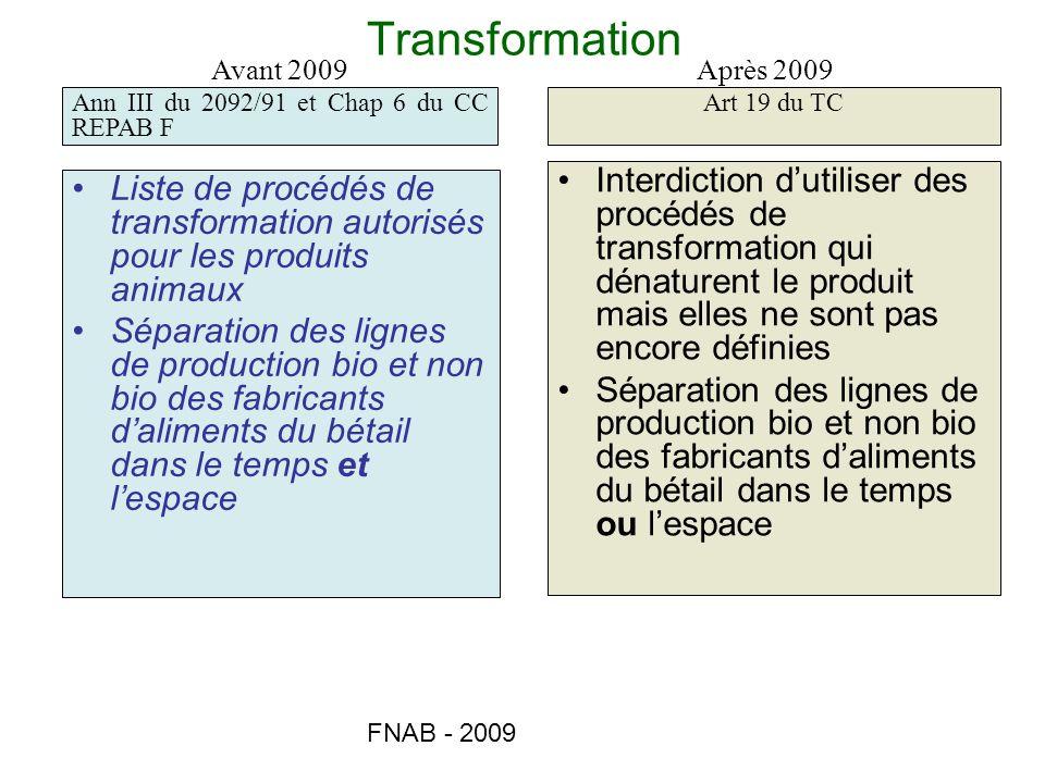 Transformation Avant 2009. Après 2009. Ann III du 2092/91 et Chap 6 du CC REPAB F. Art 19 du TC.
