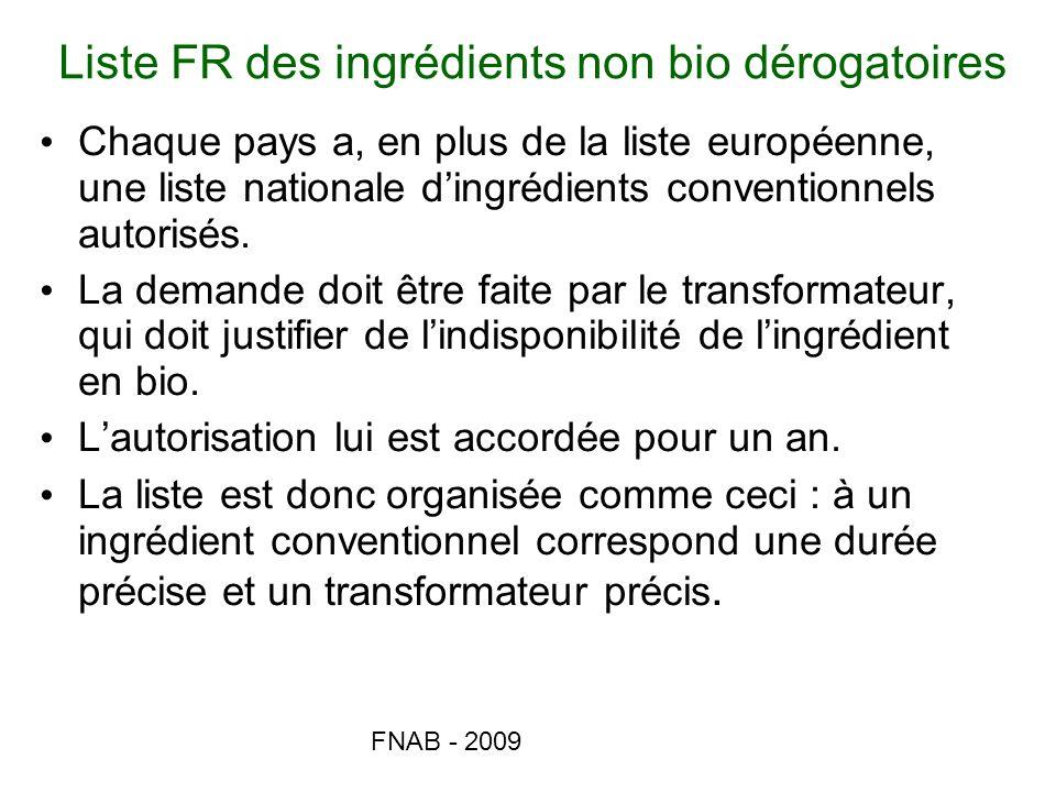 Liste FR des ingrédients non bio dérogatoires