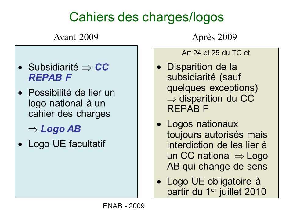 Cahiers des charges/logos
