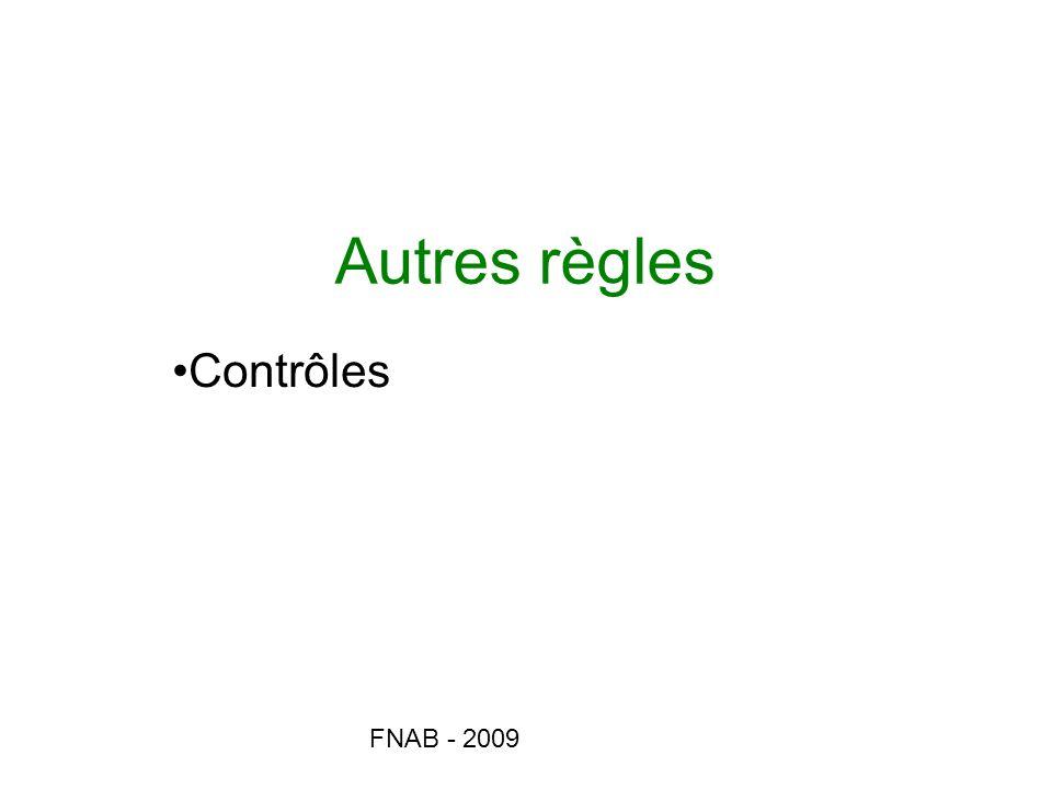 Autres règles Contrôles FNAB - 2009