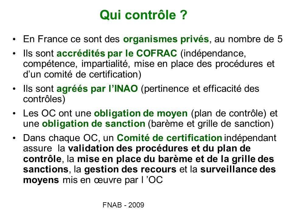 Qui contrôle En France ce sont des organismes privés, au nombre de 5