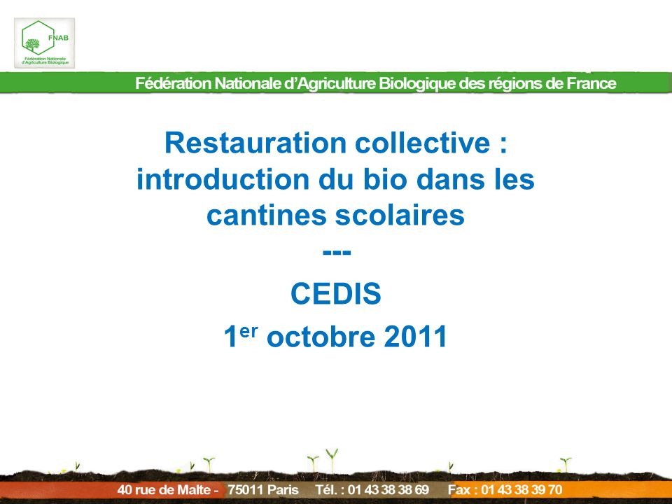 Restauration collective :