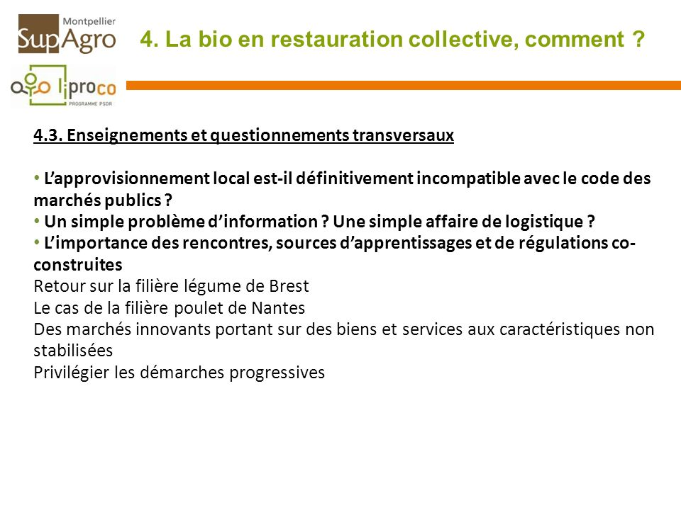 4. La bio en restauration collective, comment