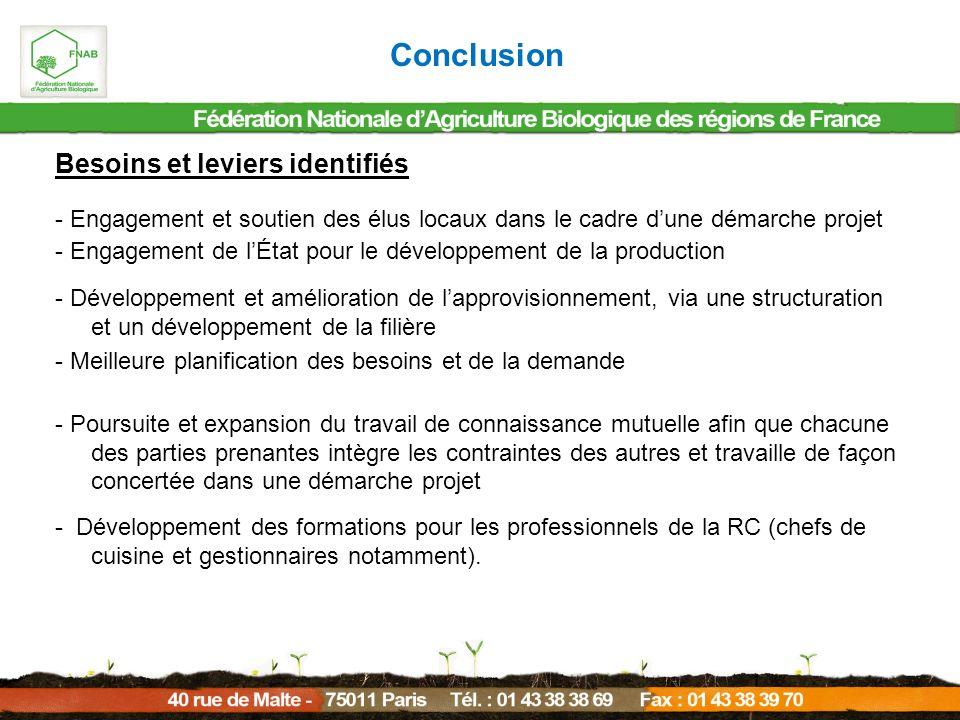 Conclusion Besoins et leviers identifiés