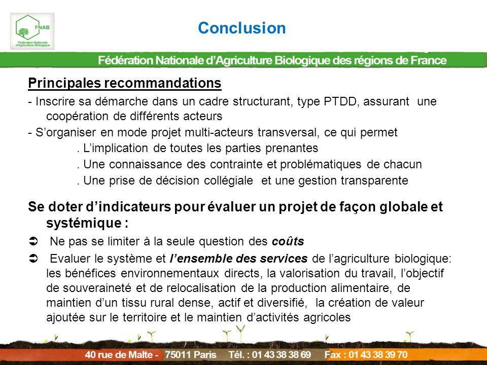 Conclusion Principales recommandations