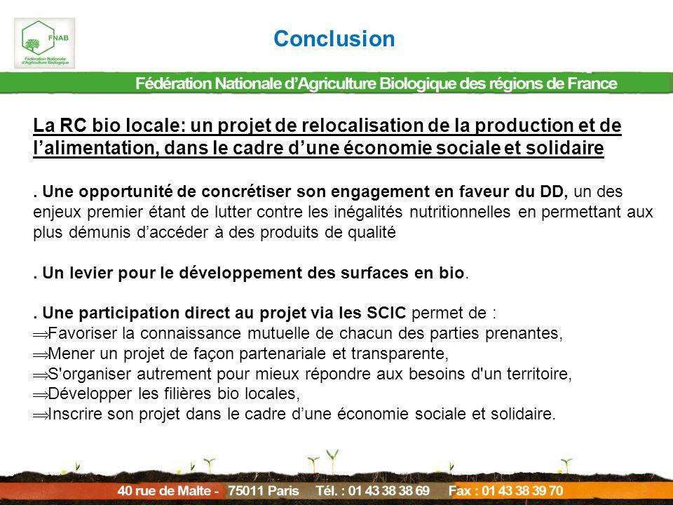 Conclusion La RC bio locale: un projet de relocalisation de la production et de l'alimentation, dans le cadre d'une économie sociale et solidaire.