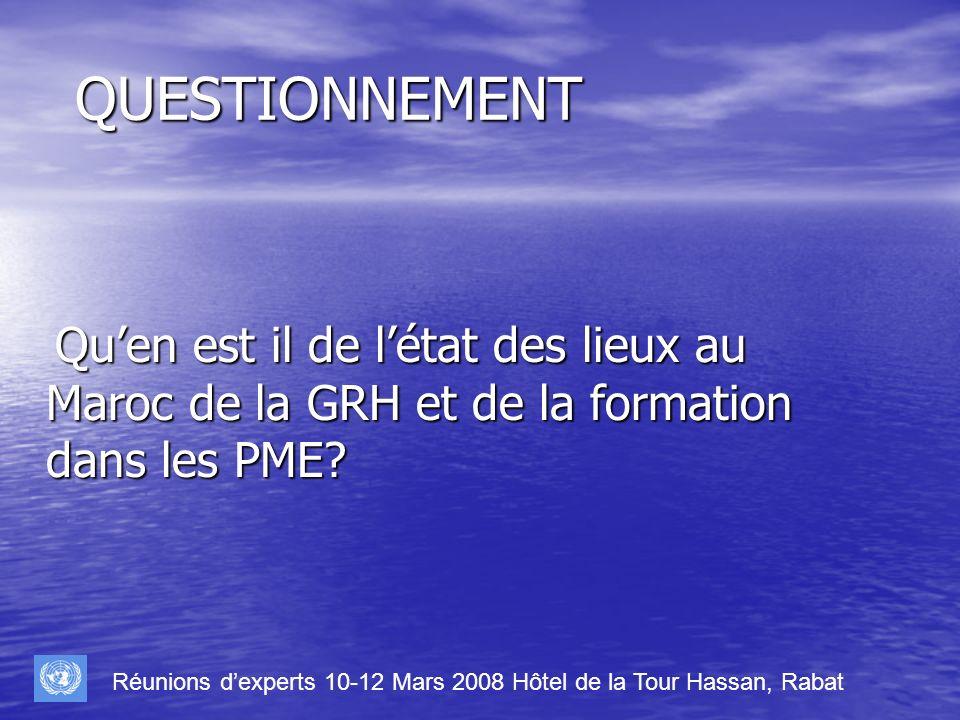 QUESTIONNEMENT Qu'en est il de l'état des lieux au Maroc de la GRH et de la formation dans les PME