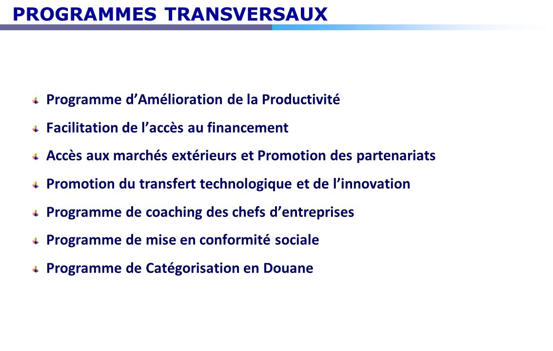 PROGRAMMES TRANSVERSAUX