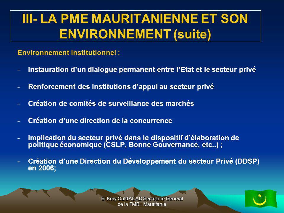 III- LA PME MAURITANIENNE ET SON ENVIRONNEMENT (suite)